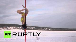 China: Icy hot! Pole dancers bring the heat in MINUS 50 degrees