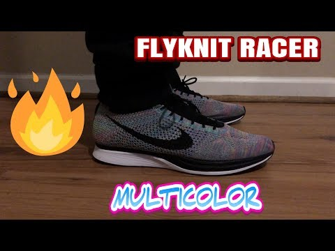 Nike Flyknit Racer Multicolor on foot - these are too clean