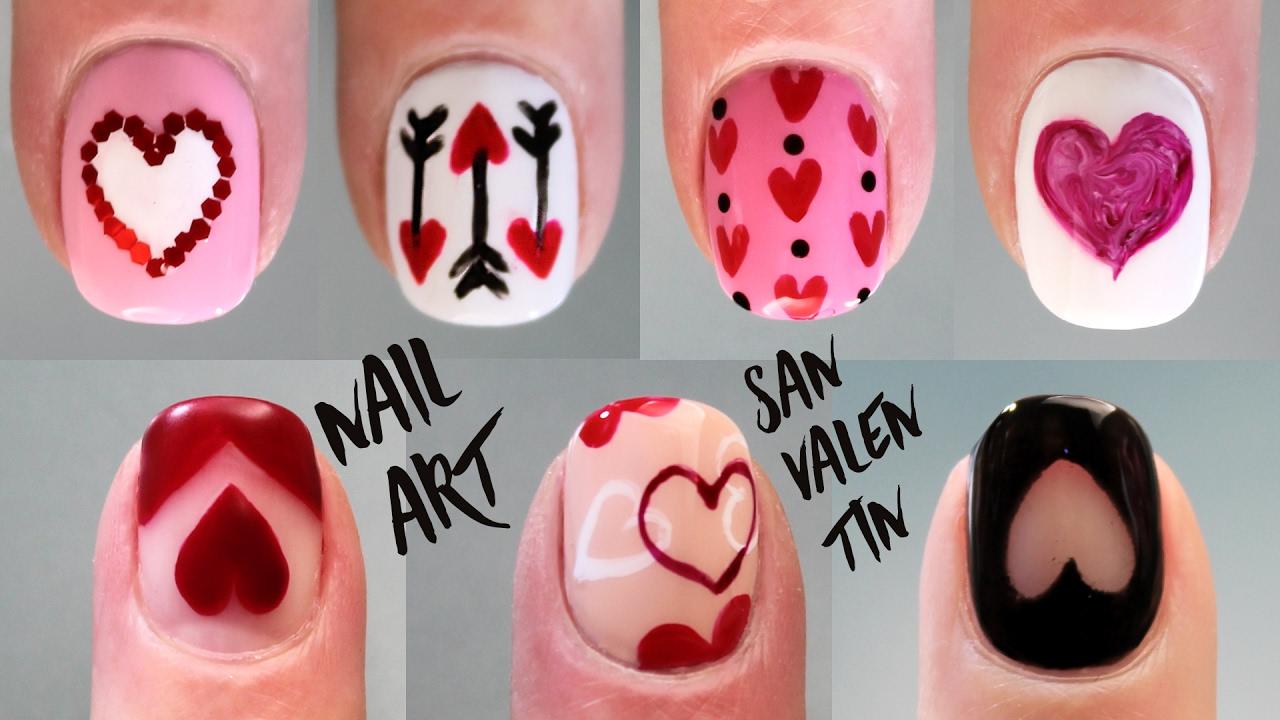 7 Ideas Decoración De Uñas Con Corazones San Valentin Nail Art