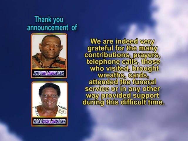 Antoine Langellier and Ella Louise Langellier thank you and memorial