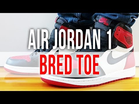 best sneakers bef7c 0ebb5 AIR JORDAN 1 RETRO BRED TOE on Feet and Close Up
