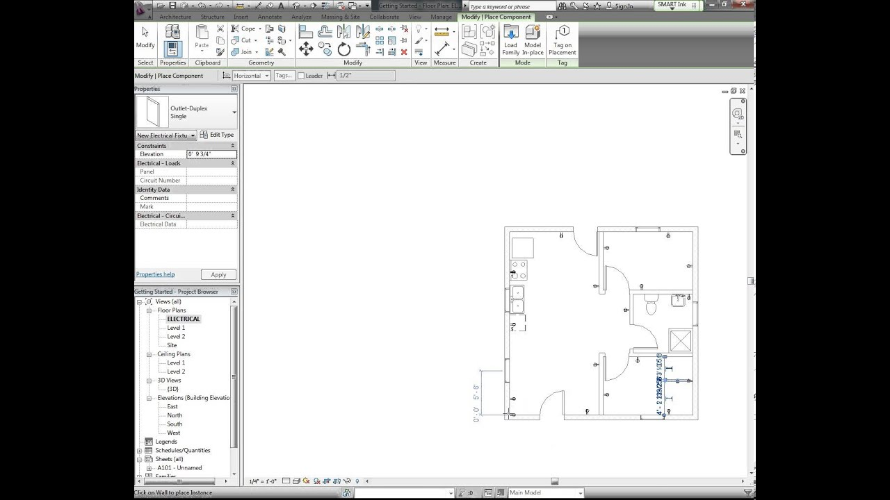 revit tutorial electrical plan part 1 [ 1280 x 720 Pixel ]