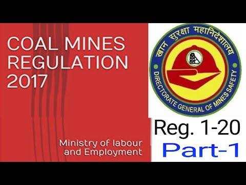 #miningexam Coal Mines Regulation 2017  cmr 2017   Regulraion No. 1 To 20   Part 1