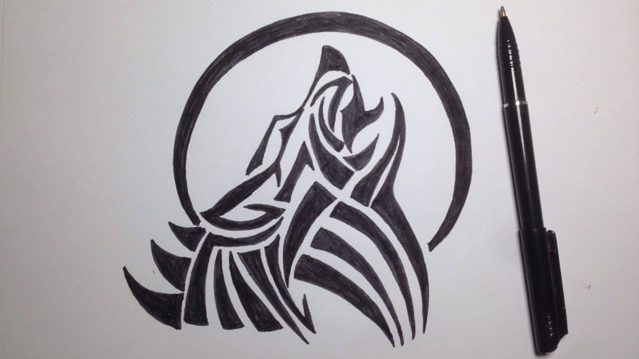 How To Draw A Wolf Easy Drawing A Wolf Tattoo Design By Colorhand