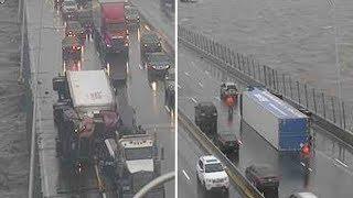 Brutal winds overturn trucks on Mario Cuomo/Tappan Zee Bridge