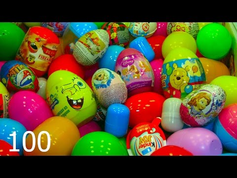 100 huevos sorpresa Disney CARS MARVEL SpiderMan THOMAS Bob Esponja Kinder Angry Birds
