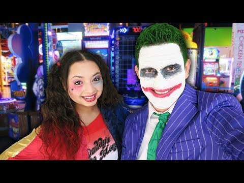 Harley Quinn and Joker at the Arcade for Halloween!