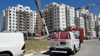 Crane collapse in  Yavne (MDA Spokesman)