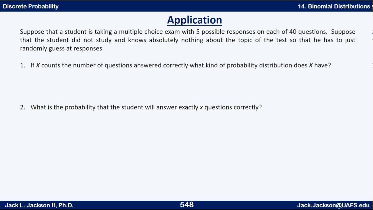 Statistics 2 14 4 Binomial Distribution Applications