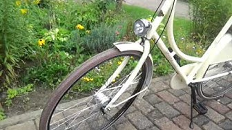Greens Retro Deluxe Damen Hollandrad creme brauner Sattel/ Reifen