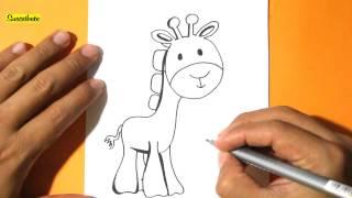 Como Dibujar una Jirafa l How to Draw a giraffe l Como dibujar animales