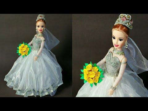 Christian Bridal Doll Dress Making   DIY   Tutorial   Creative Craft   Doll Dress  By Punekar Sneha