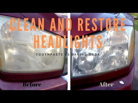 Simple easy way to Clean and Restore Headlights fast - Toothpaste vs  Extra Baking Soda