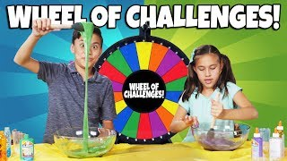 MYSTERY WHEEL OF CHALLENGES!!! DIY Glue Slime Challenge from our NEW BOOK at Amazon!