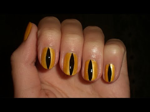 Short Halloween Nails - Cat Eye - YouTube
