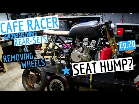 This weeks video I'm getting the wheels off the bike and ready for powder coating, working on the rear-set placement and talking about the Cafe Racer hump ...