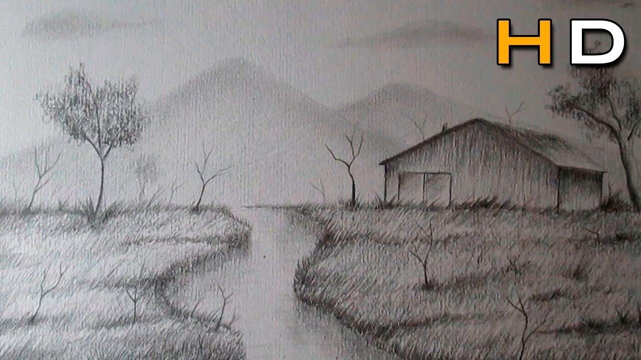 How to Draw a Landscape With Pencil Step by Step For ...