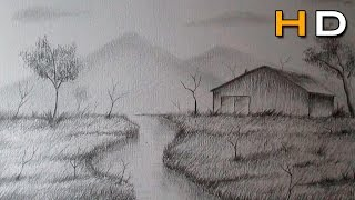 How to Draw a Landscape With Pencil Step by Step For Beginners - Timelapse