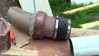 how to join PVC to clay tile sewer pipe