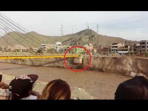 Momento exacto que se cayó PUENTE TALAVERA, río Rímac - SJL, Lima