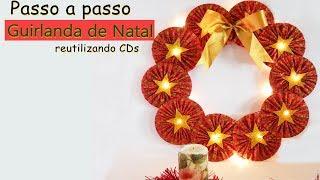 Artesanato- Guirlanda de Natal reutilizando Cds