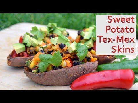 Tex-Mex Loaded Sweet Potato Skins Vegan