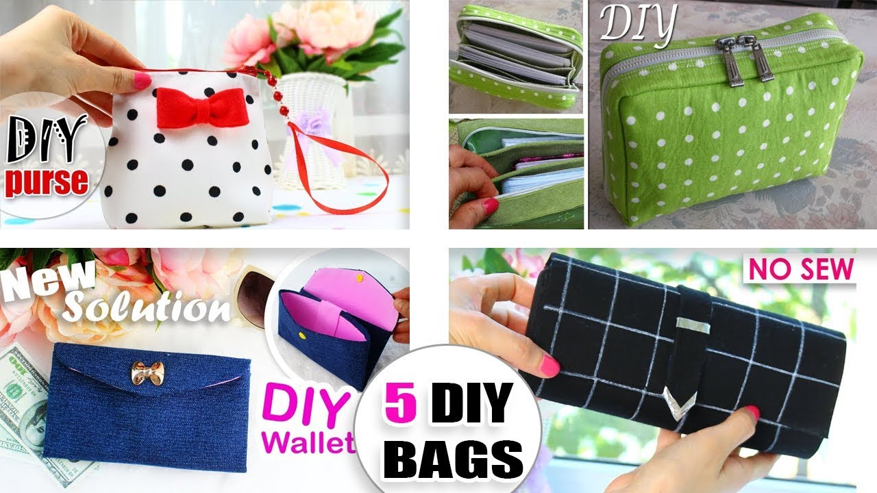 5 The Most Cutest Diy Bags Ever Easy Making 5 Purse Bags Ideas From Scratch Youtube