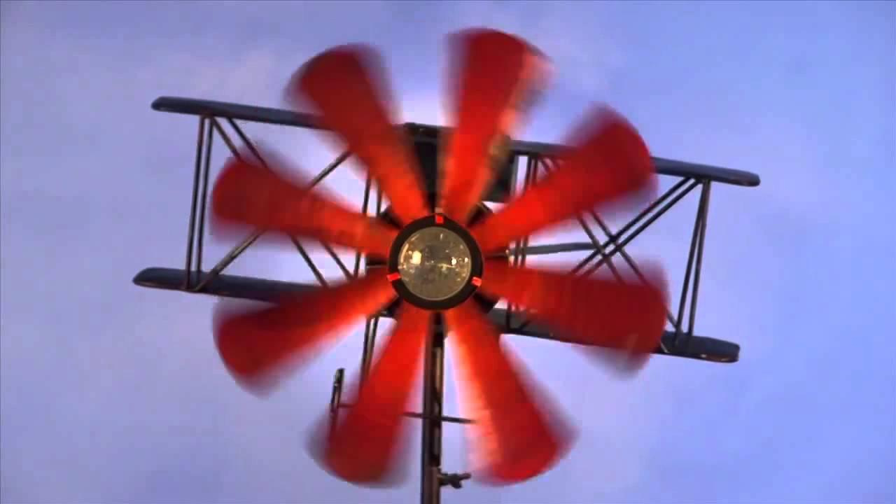 Biplane Metal Wind Spinner-Wind & Weather - YouTube