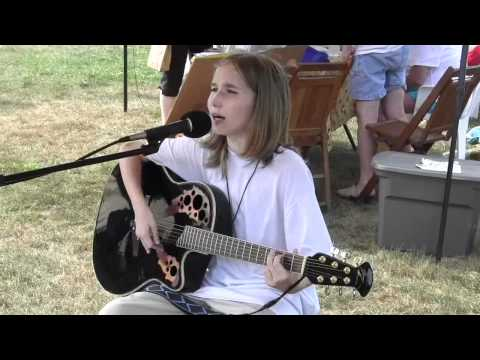 Sawyer at the Greenfield Farmers Market with a New Original Song,