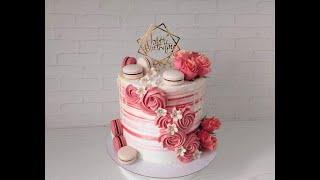 украшение ВЫСОКОГО Торта белково заварным кремом Торт с живыми цветами и макаронс Современный торт