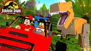 ROBLOX JURASSIC PARK - DONUT & ROPO ARE ATTACKED BY A GIANT T-REX!!