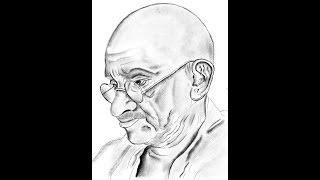 Dibujo de Gandhi / Cómo hacer realista la sombra de Gandhi