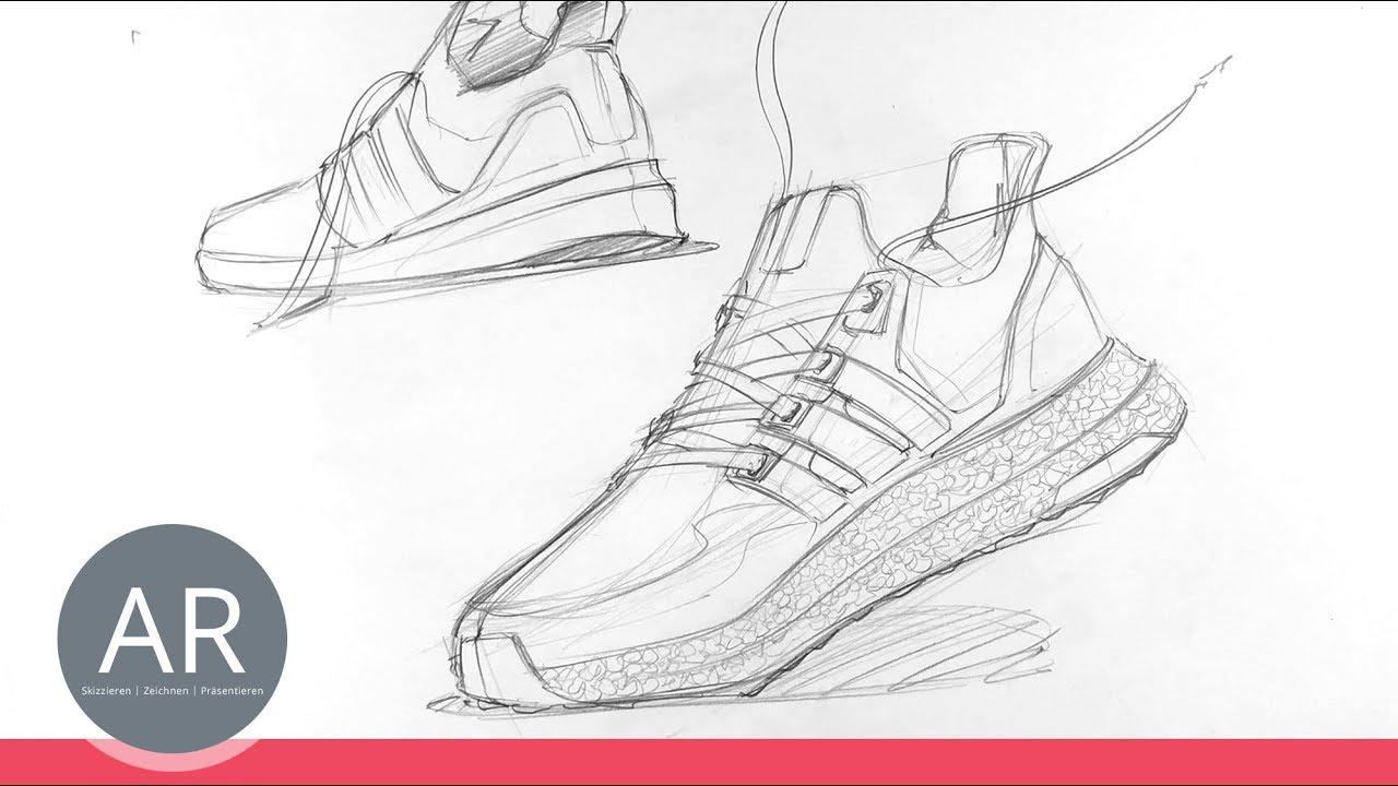 Teil 12 Sneakers Design, Schuhe zeichnen lernen. Schuh Design. Mappenkurs Produktdesign