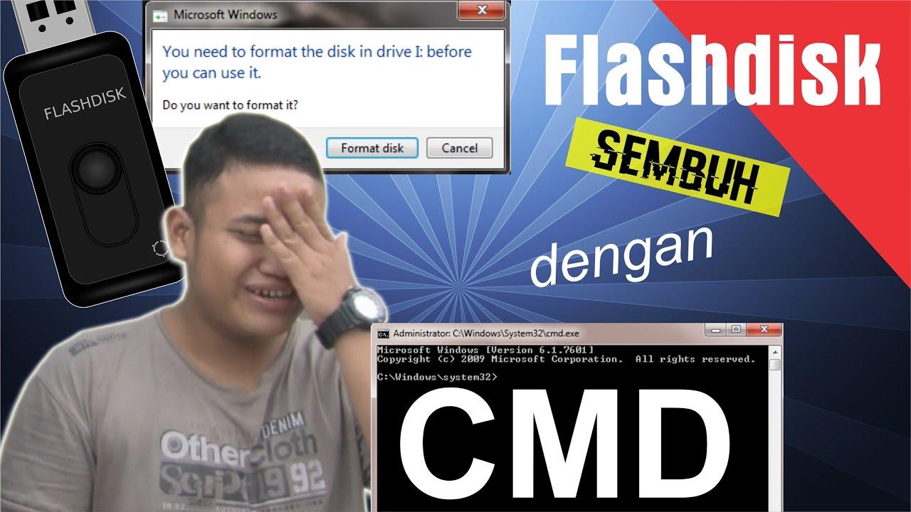 Berhasil Cara Memperbaiki Flashdisk Minta Format Dengan Cmd Recovery Raw Youtube