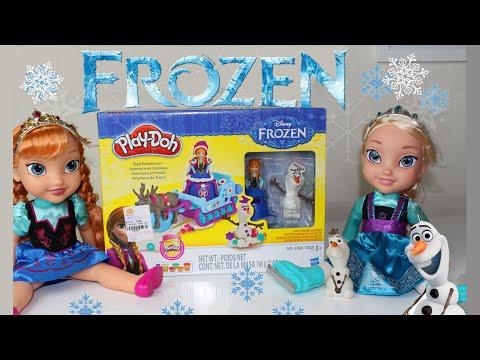 Play dooh Frozen Anna, Olaf e Sven - Aventuras de trenó! Abrindo Brinquedos.