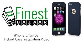 iPhone 5/5s/se Hybrid 360 Case Full Body Luxury Cover + Tempered Glass by FinestBazaar