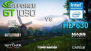 Intel HD Graphics 630 vs GT 1030 Test in 6 Games