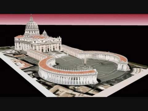 St Peter's Basilica and Bernini's Colonnade in full color