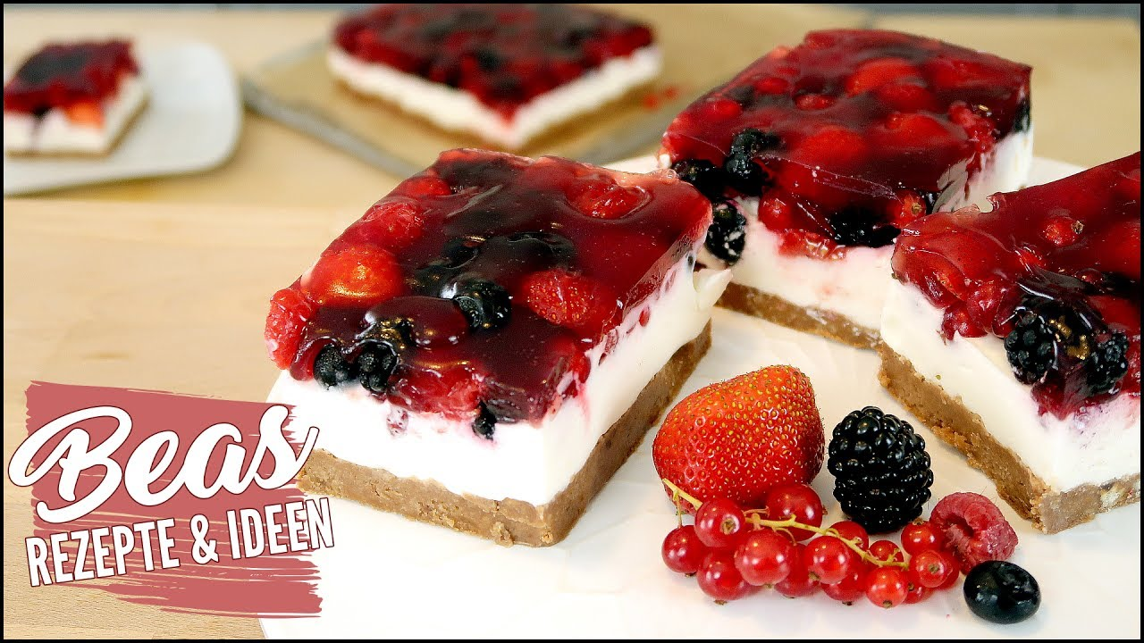 beerenschnitten rezept fruchtige beerentorte mit joghurt sahne creme nobake youtube. Black Bedroom Furniture Sets. Home Design Ideas