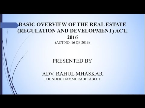 RERA | Basic Overview of Real Estate (Regulation and Development) Act, 2016 by HAMMURABI TABLET
