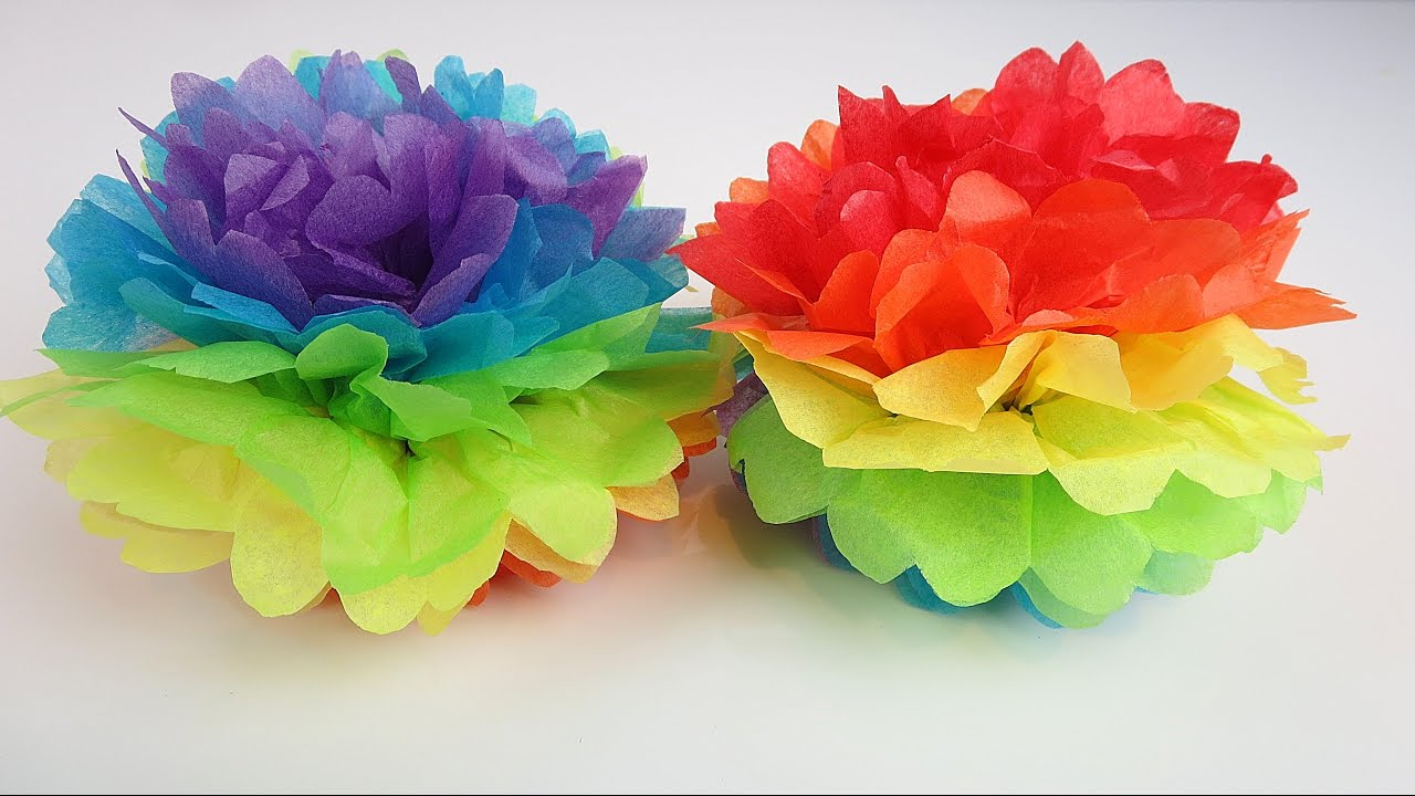 Easter Rainbow Tissue Paper Pom Fun Easy DIY Decoration For Kids