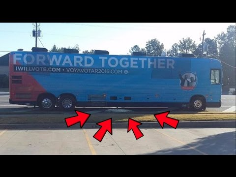 Hillary's Bus Dumps Sewage All Over the Street !!!