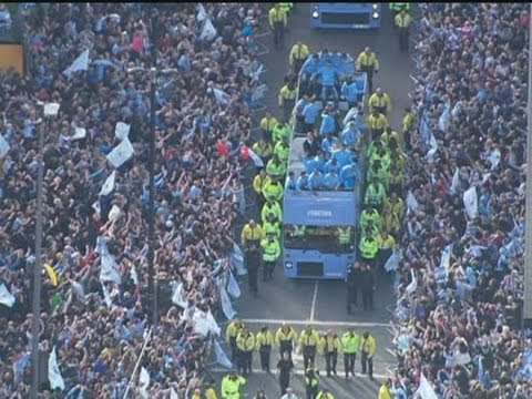 Manchester City Celebrate Premier League Win With Open Top Bus Tour