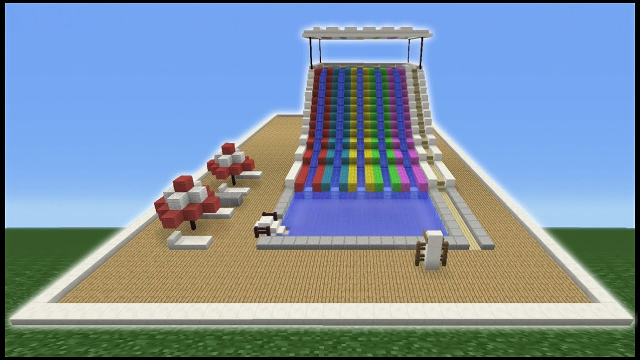 Minecraft tutorial how to make a water slide mini water for How to build a swimming pool slide