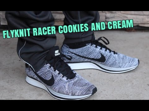 nike flyknit racer oreo 1 0 cookies and cream on feet. Black Bedroom Furniture Sets. Home Design Ideas