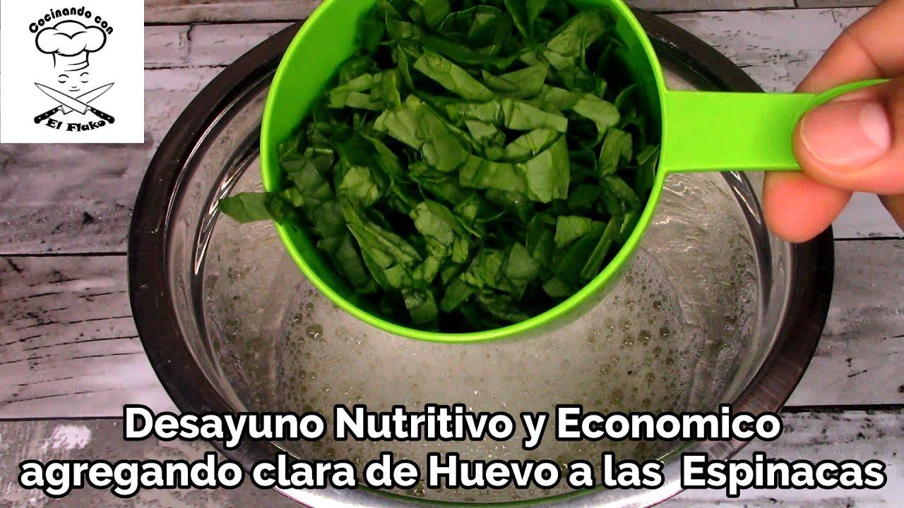 Desayuna Saludable agregando Espinacas a la Clara de Huevo