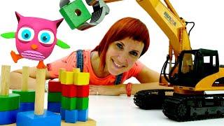 Игрушка Экскаватор и пирамидка. Развивающие игрушки и Мультики для малышей.