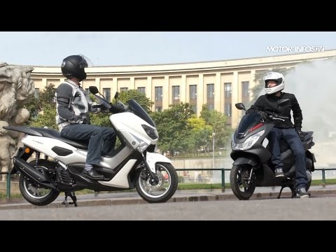 comparatif scooter yamaha n max 125 versus honda pcx 125 youtube. Black Bedroom Furniture Sets. Home Design Ideas
