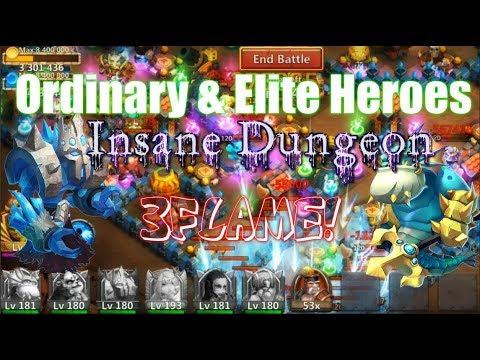 Ordinary& Elite Heroes Vs Insane Dungeon 3Flame! - Castle Clash