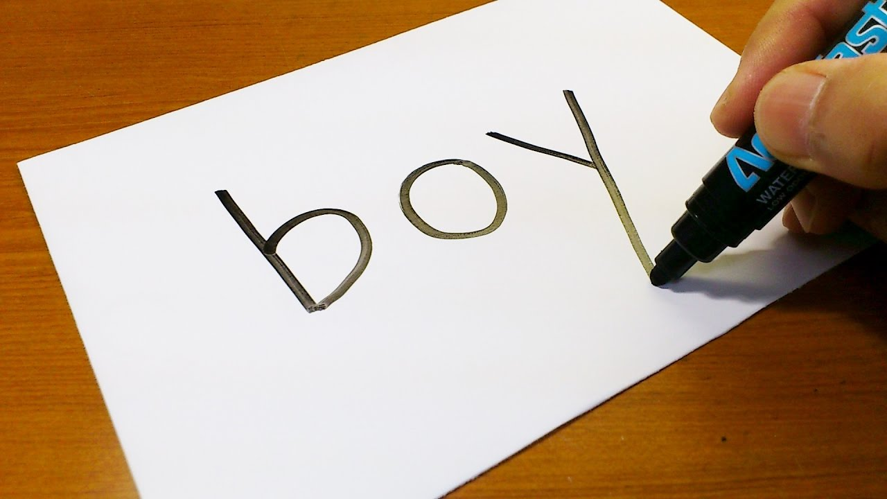 Very Easy How To Turn Words Boy Into A Cartoon Art On Paper
